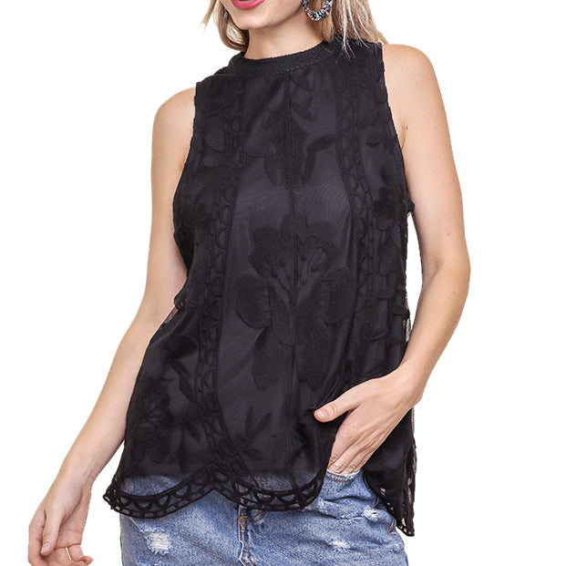 Umgee Black Lace Sleeveless Blouse Top Savvy Chic Boutique Cleveland Ohio