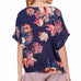 Umgee Navy Twist Floral Print Short Sleeve Blouse Top Savvy Chic Boutique Cleveland Ohio