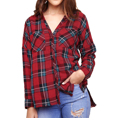 Umgee Red Turquoise Plaid Flannel Frayed Hem Button Down Shirt Savvy Chic Boutique Cleveland Ohio