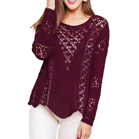 Umgee Wine Plum Open Weave Knit Pullover Sweater Savvy Chic Boutique Cleveland Ohio