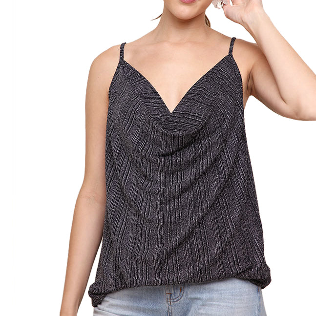 Umgee Black SilverMetallic Shimmer Stripe Cowl Neck Camisole Tank Savvy Chic Boutique Cleveland Ohio
