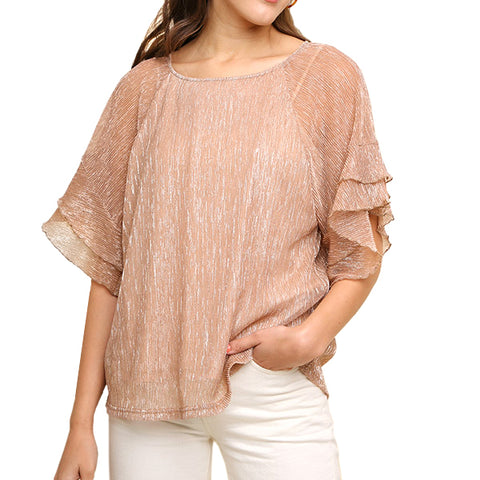 Umgee Copper Champagne Metallic Ruffle Sleeve Blouse Savvy Chic Boutique Cleveland Ohio