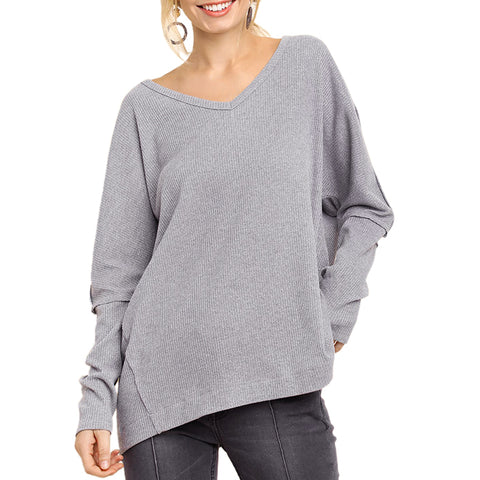 Umgee Grey Silver Oversized Drop Sleeve V Neck Ribbed Top Savvy Chic Boutique Cleveland Ohio