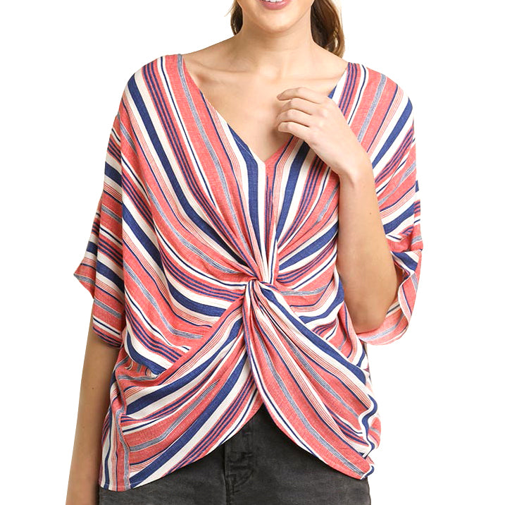 Umgee Coral Blue Stripe Knot Detail Dolman Sleeve Top Savvy Chic Boutique Cleveland Ohio