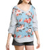 Umgee Grey Colorful Floral Print 3/4 Puff Sleeve V Neck Top Savvy Chic Boutique Cleveland Ohio