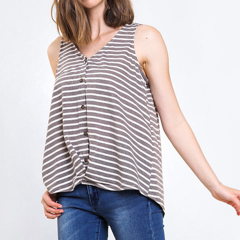 Umgee Grey Charcoal Stripe Button Down Sleeveless Tank Top Savvy Chic Boutique Cleveland Ohio