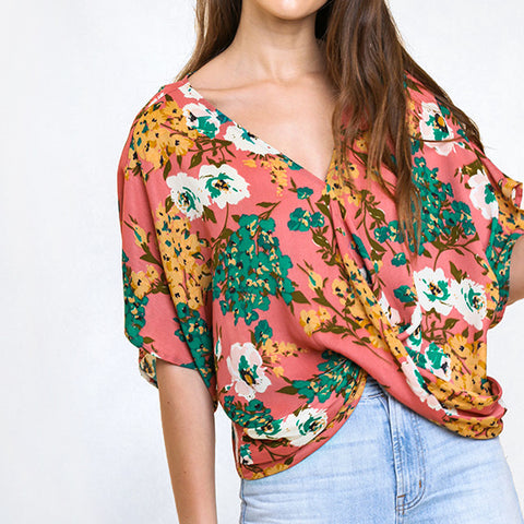 Umgee Pink Floral Twist Front Cropped V Neck Blouse Top Savvy Chic Boutique Cleveland Ohio