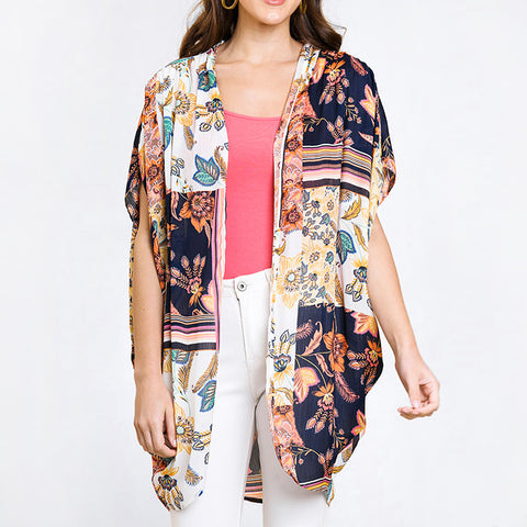 Umgee Navy Floral Print Short Sleeve Kimono Savvy Chic Boutique Cleveland Ohio