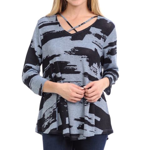 Cubism Blue Black Brushstroke Print Criss-Cross Neckline Top Savvy Chic Boutique Cleveland