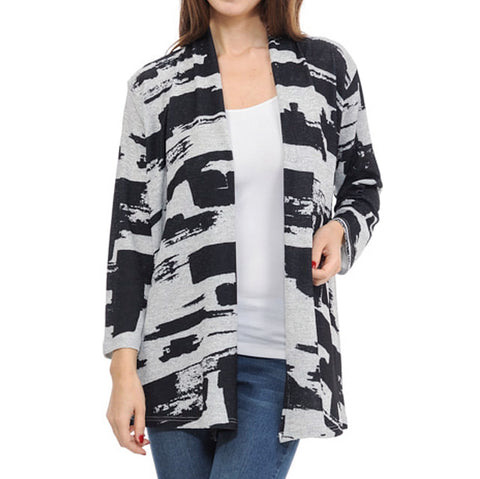 Cubism Black Grey Brushstroke Print Open Cardigan Savvy Chic Boutique Cleveland Ohio