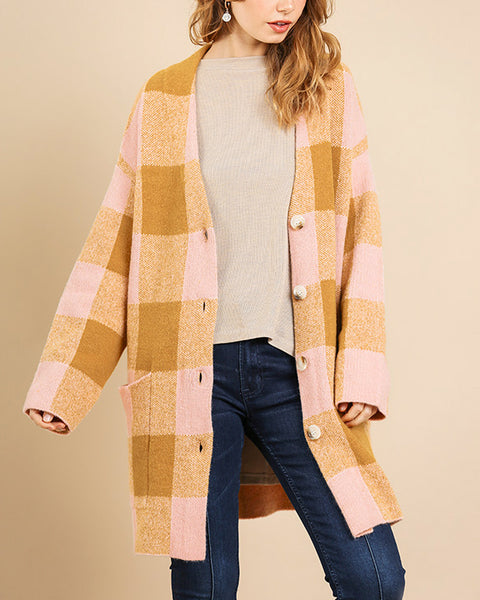 Mustard Yellow Gold Pastel Pink Plaid Button Down Long Knit Cardigan Sweater Coat Savvy Chic Boutique Cleveland Ohio