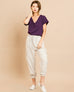 Biege Oatmeal Natural Linen Cotton High Waist Jogger Cargo Pant Savvy Chic Boutique Cleveland Ohio