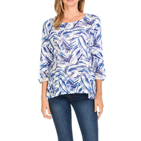 Cubism White Blue Print Textured 3/4 Sleeve Top