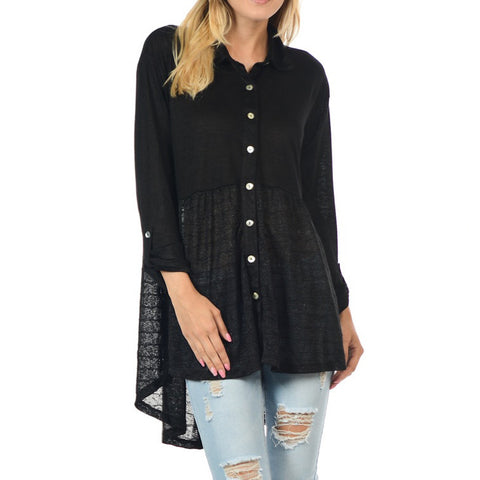 Black Sheer Pattern Button Up Babydoll Blouse