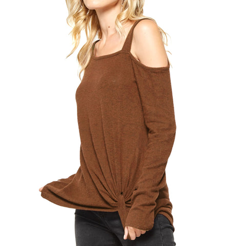 Andree Rust Asymmetric Cold Shoulder Sweater Top Savvy Chic Boutique Cleveland Ohio