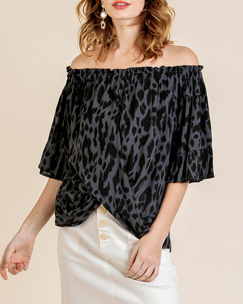 Grey Charcoal Black Animal Leopard Print Off the Shoulder Bell Sleeve Top Savvy Chic Boutique Cleveland Ohio