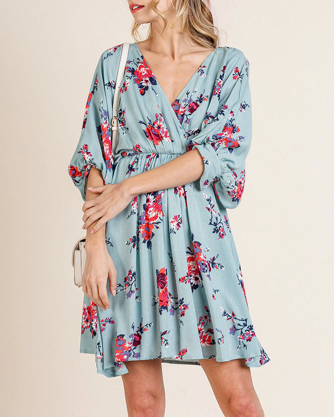 Mint Blue Pink Floral Print Puff Sleeve Dress