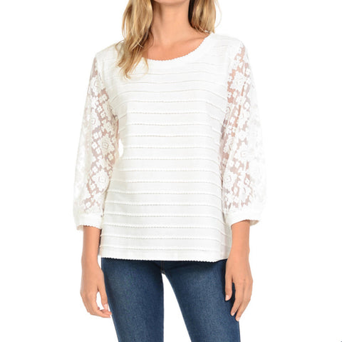 Cubism Ivory Textured Lace 3/4 Sleeve Top