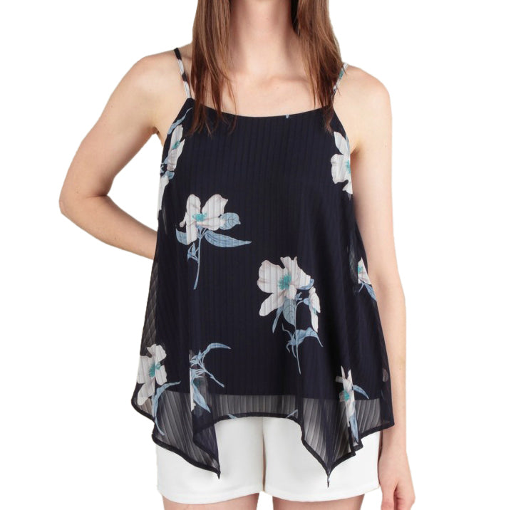Skies Are Blue Spaghetti Strap Tank Navy Floral Sheer Top Savvy Chic Boutique Cleveland Ohio