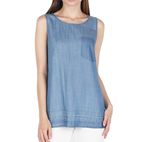 Skies Are Blue Denim Tencel Tank Top Savvy Chic Boutique Cleveland Ohio