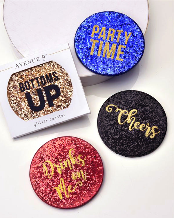Gold Red Blue Black Glitter Design Drink Beverage Party Coaster Savvy Chic Boutique Cleveland Ohio