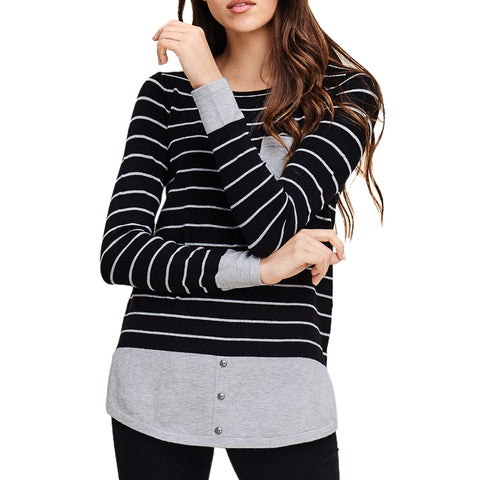 Staccato Black Grey Stripe Color Block Long Sleeve Fitted Slim Top Botton Pocket Savvy Chic Boutique Cleveland Ohio