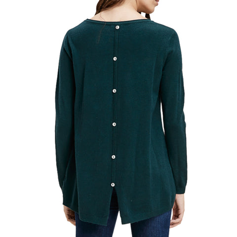Staccato Hunter Green Teal Long Sleeve Button Back Top Savvy Chic Boutique Cleveland Ohio