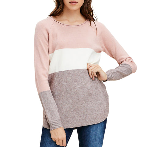 Staccato Rose Blush Pink White Stripe Color Block Knit Sweater Top Savvy Chic Boutique Cleveland Ohio