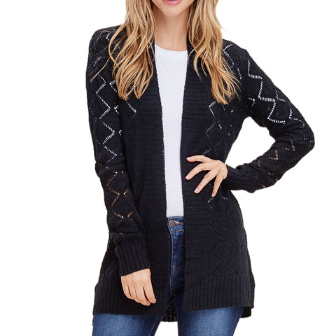 Staccato Black Pointelle Open Knit Sweater Cardigan Savvy Chic Boutique Cleveland Ohio