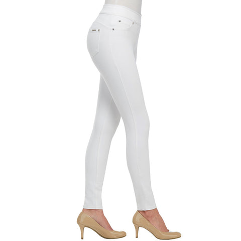 White Stretch Pull On Denim Leggings