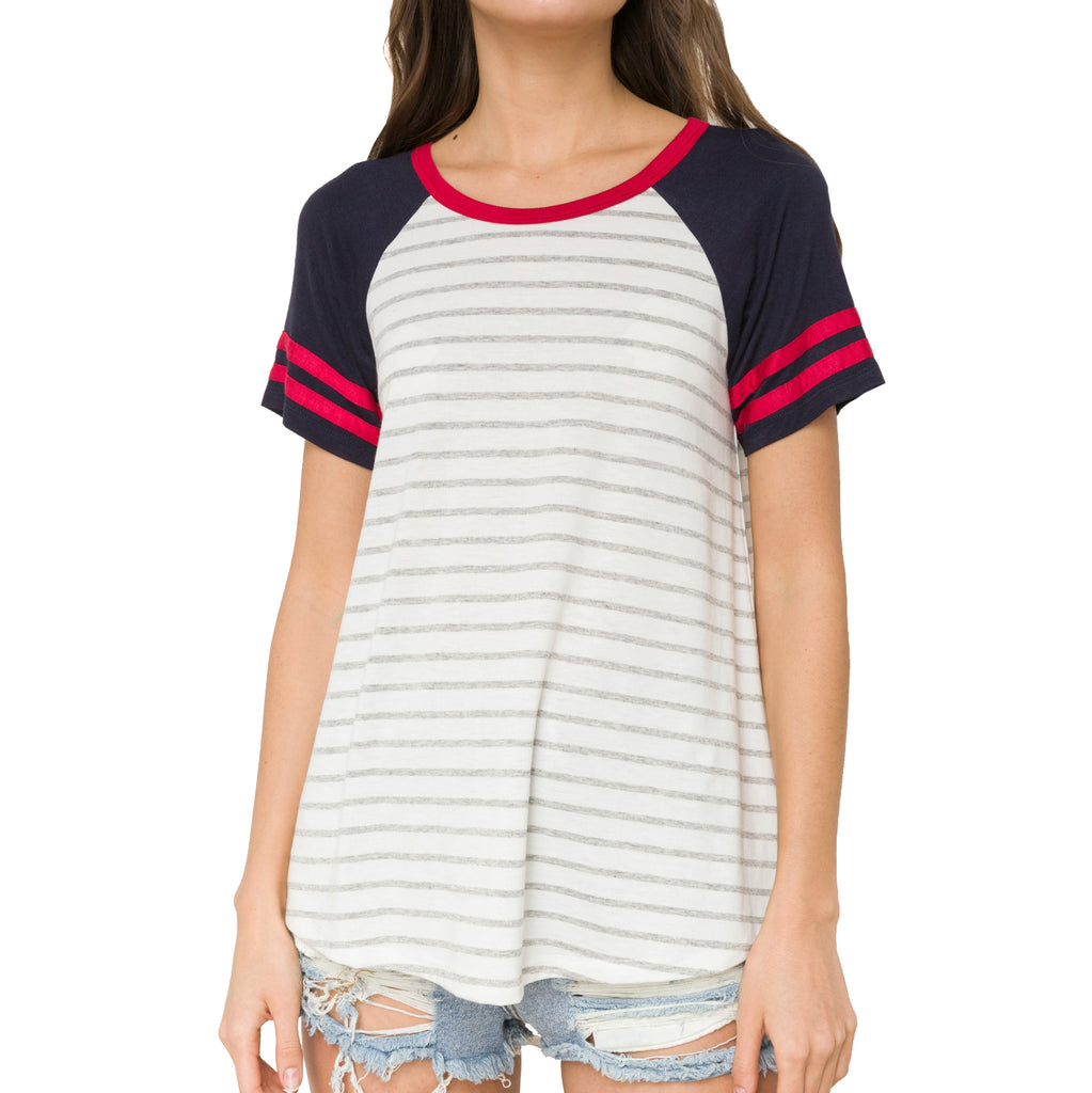 Hem & Thread Grey Stripe Red Blue Sporty Baseball Tee Indians Savvy Chic Boutique Cleveland Ohio
