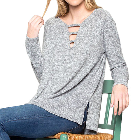 Heather Grey Long Sleeve Side Slit Cutout Neckline Top