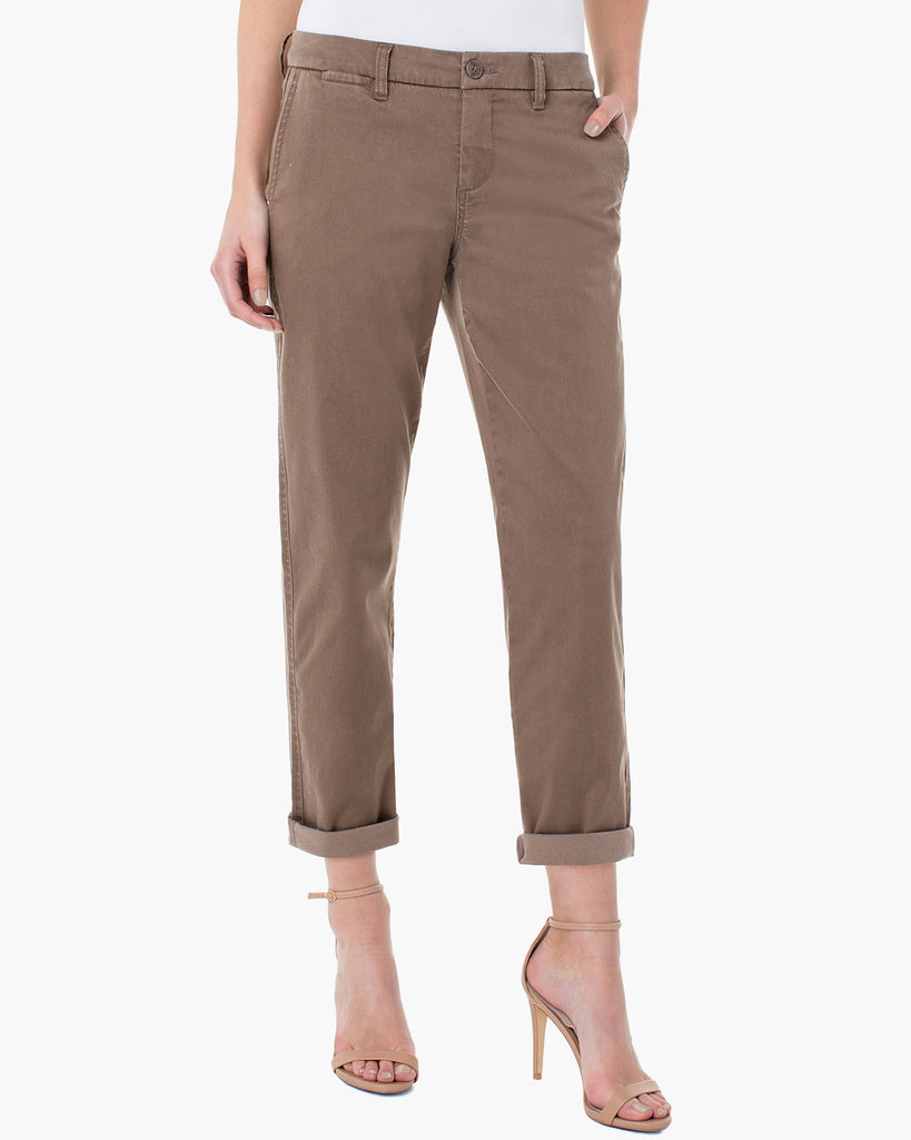 Liverpool Bobbie Trouser Chocolate Chip Brown Slant Pockets Cropped Twill Pant Savvy Chic Boutique Cleveland Ohio