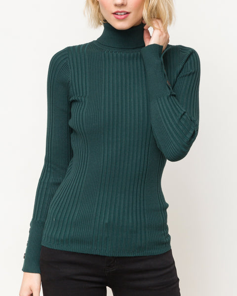 Hunter Green Ribbed Stretch Turtleneck Button Sleeve Sweater Savvy Chic Boutique Cleveland Ohio