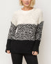 Mystree White Black Texture Chunky Knit Pullover Sweater Color Block Mock Neck Top Savvy Chic Boutique Cleveland Ohio