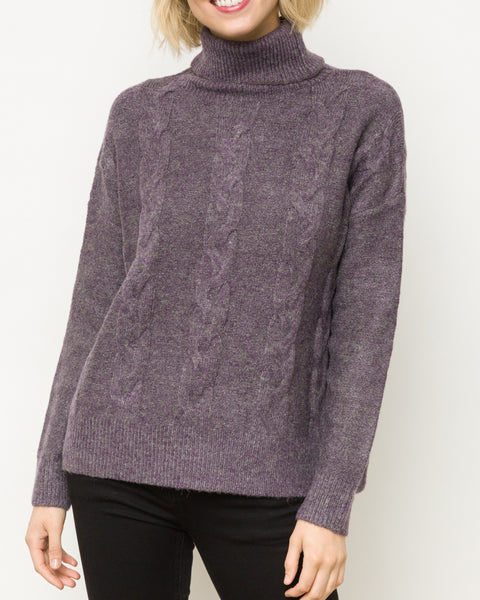 Mystree Purple Cable Knit Turtleneck Sweater Pullover Savvy Chic Boutique Cleveland Ohio