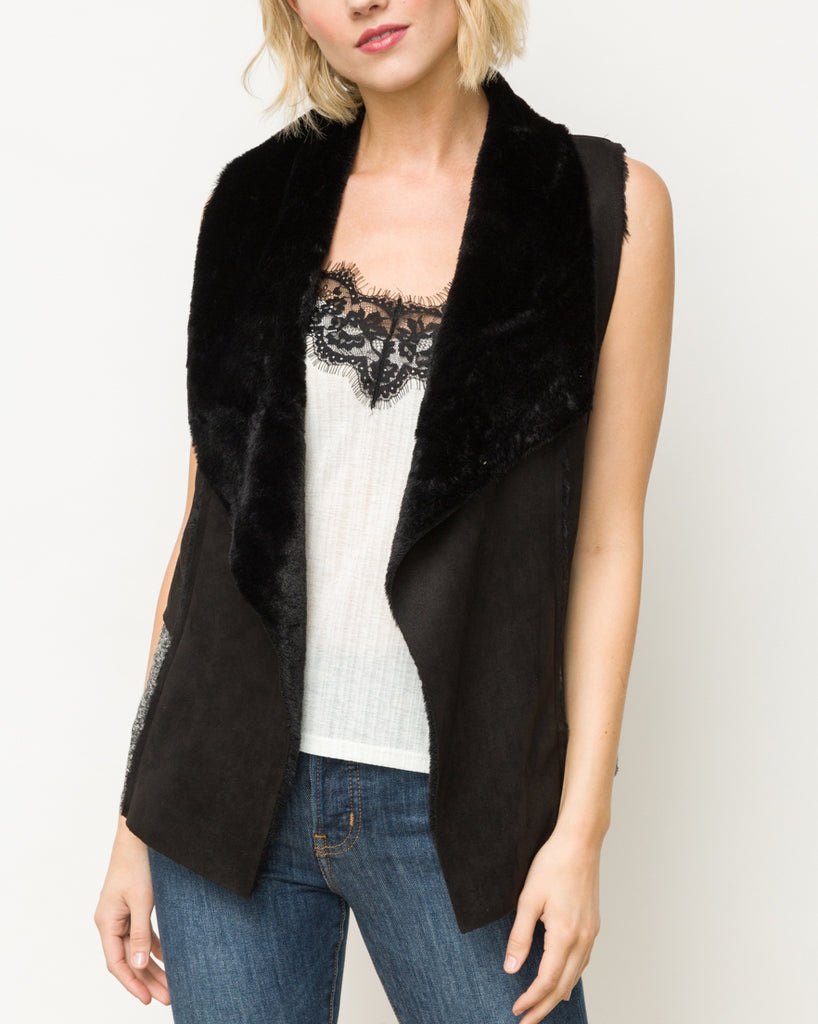 Mystree Black Faux Fur Suede Knit Pocket Vest Savvy Chic Boutique Cleveland Ohio