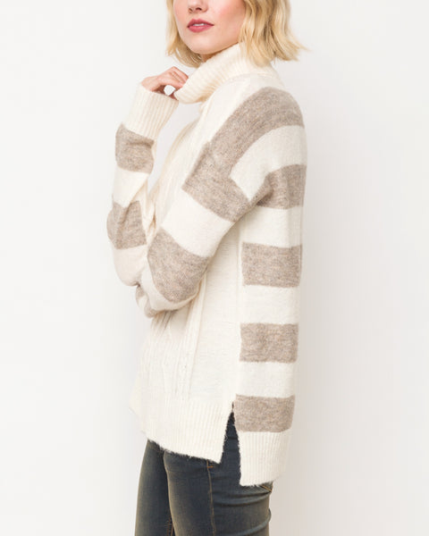 Mystree Cream Taupe Stripe Back Turtleneck Cable Knit Long Sleeve Pullover Sweater Savvy Chic Boutique Cleveland Ohio