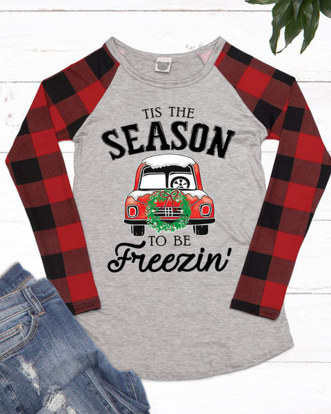 Heather Grey Red Plaid Christmas Holiday Long Sleeve Graphic Tee Shirt Top Savvy Chic Boutique Cleveland Ohio