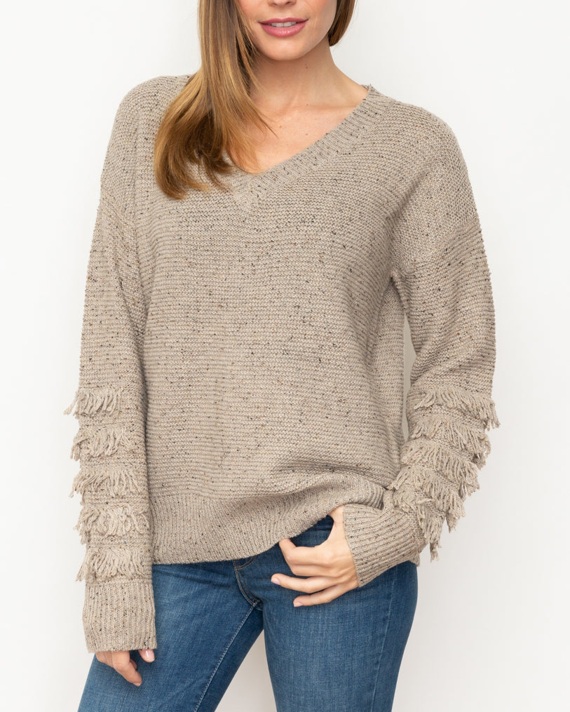 Mystree Taupe Grey Frine Pullover V Neck Knit Sweater Savvy Chic Boutique Cleveland Ohio