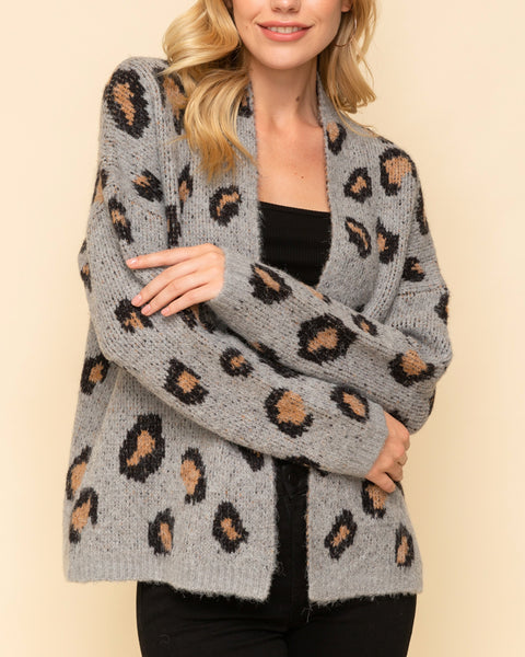 Hem & Thread Grey Brown Leopard Animal Print Knit Sweater Open Cardigan Savvy Chic Boutique Cleveland Ohio