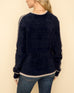 Hem & Thread Navy Blue Soft Fuzzy Knit Taupe Stripe Pullover Sweater Savvy Chic Boutique Cleveland Ohio