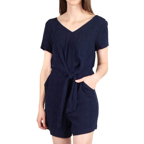 Skies Are Blue Navy Jacquard Romper Short Sleeve Tie Waist Savvy Chic Boutique Cleveland Ohio