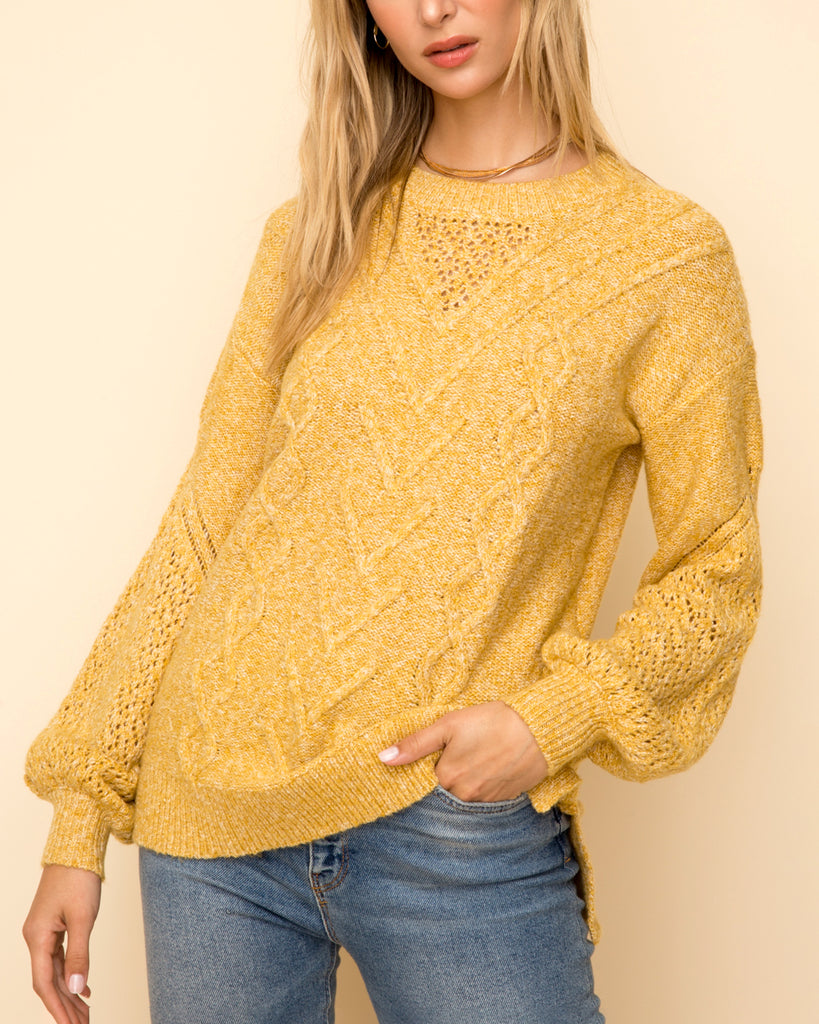 Hem & Thread Mustard Golden Yellow Cable Knit Pullover Sweater Top Savvy Chic Boutique Cleveland Ohio