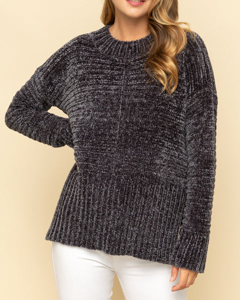 Mystree Charcoal Grey Soft Chenille Mock Neck Knit Pullover Sweater Savvy Chic Boutique Cleveland Ohio