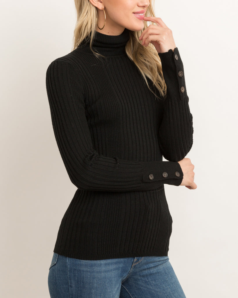 Hem & Thread Black Ribbed Button Turtle Neck Sweater Savvy Chic Boutique Cleveland Ohio