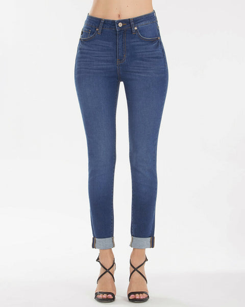Kancan Jeans High Rise Medium Wash Cropped Cuff Skinny Denim