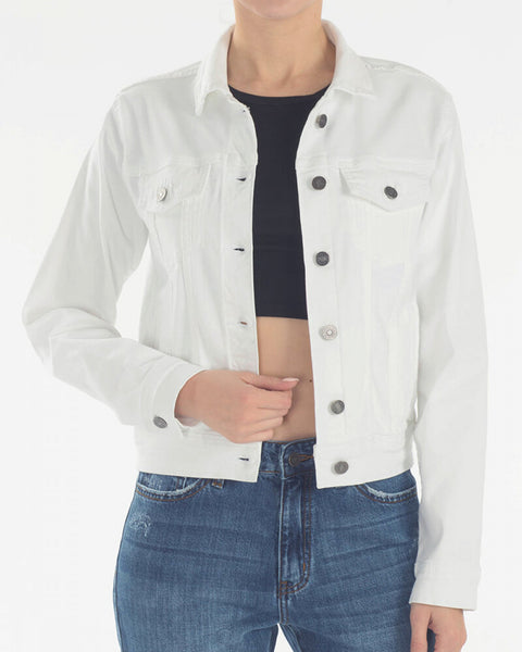 Kancan White Denim Jean Jacket KC7282WT