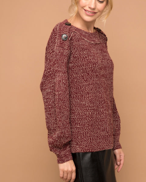 Hem & Thread Wine Maroon Knit Balloon Sleeve Button Pullover Sweater Savvy Chic Boutique Cleveland Ohio
