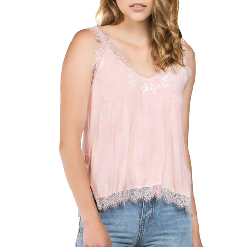 POL Pink Blush Lace Trim Embroidery Tank Top Savvy Chic Boutique Cleveland Ohio